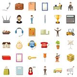 Hard business icons set, cartoon style. Hard business icons set. Cartoon style of 36 hard business vector icons for web isolated on white background Stock Photos
