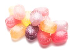 Hard candies over white background. Hard candy sweets shot over white background Stock Photography