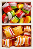 Hard candies in wooden box Stock Photo