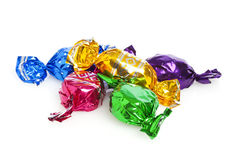Hard Candy In Colorful Wrappers Stock Photo