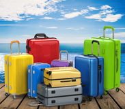 Hard case colorful luggages Stock Photography