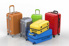 Hard case colorful luggages. 3d rendering hard case colorful luggages on white background Stock Image