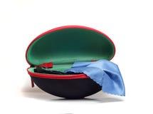 Hard case for eyeglasses black Microfibre Royalty Free Stock Photography
