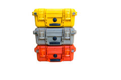 Hard Case Plastic Protect Water Resistant Equipment. On white Stock Photo