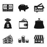 Hard cash icons set, simple style. Hard cash icons set. Simple set of 9 hard cash vector icons for web isolated on white background Stock Image