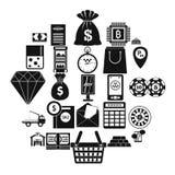 Hard cash icons set, simple style royalty free illustration