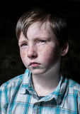 Hard character of a little boy. Hard little boy with strong character in portrait Stock Photo