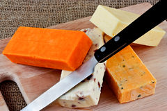 Cheeses and knife Royalty Free Stock Image