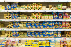 Hard Cheese Food On Supermarket Stand Royalty Free Stock Photography