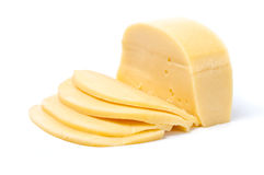 Hard cheese isolated. Hard yellow cheese, sliced isolated Stock Photos