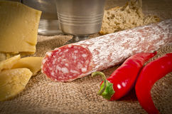 Hard cheese with pur porc. Salami Stock Image