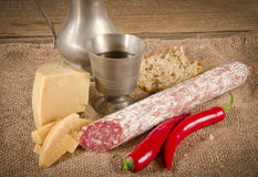 Hard cheese with pur porc. Salami Royalty Free Stock Image