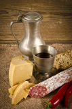 Hard cheese with pur porc. Salami Royalty Free Stock Images