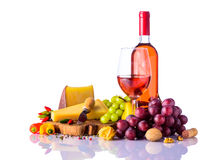 Hard Cheese and Rose Wine Stock Photography
