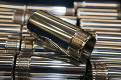 Hard Chrome Plating of shaft metal. Many Steel shaft , Hard Chrome Plating stock photo