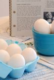 Hard Cooked Eggs. Eggs in a bowl and in an egg container with recipe book in the background Royalty Free Stock Photos
