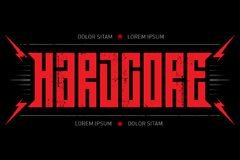Hard Core - music poster. Hardcore - t-shirt design with red lightnings. T-shirt apparels cool print. vector illustration