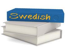 Hard cover blue books with Swedish word stock illustration