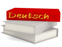 Hard cover books with Deutsch word Stock Photo