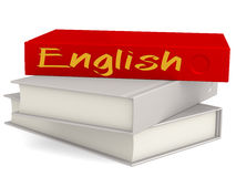Hard cover books with English word Stock Images