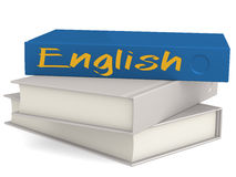 Hard cover books with English word Stock Photo