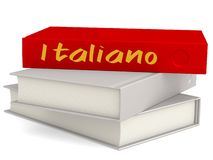Hard cover red books with Italiano word vector illustration