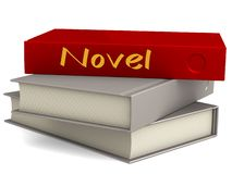 Hard cover red books with novel word royalty free illustration