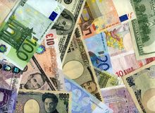 Hard currency banknotes background Stock Images