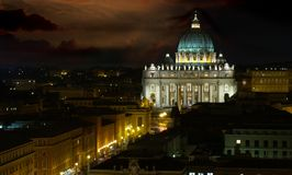 Hard day night. Roma, Vatican, the famous church in stormy night Stock Image