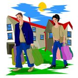 After a hard day`s work, husband and wife with heavy packages go home. Vector illustration Royalty Free Stock Photos
