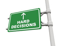 Hard decisions ahead. Text on green board against a white background, concept of tough decisions in business or personal or professional life Royalty Free Stock Photo