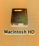 Hard die de aandrijvingspictogram van Macintosh HD op een iMac wordt gezien Stock Foto's