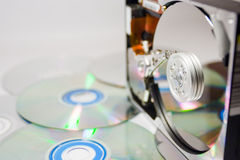 Hard disc and optics Stock Images