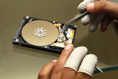 Hard Disc Recovery Lab. Expert working on Hard Disc Recovery Lab Royalty Free Stock Photos