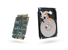 Hard disk and SSD  solid state  drive with sata 6 gb isolated on white background with clipping path.  stock image