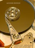 Hard Disk. Internals of hard disk with security alert Royalty Free Stock Image