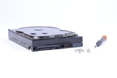 Hard disk. On white Stock Photo