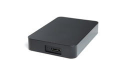 Hard disk. Black hard disk, 2.5 isolated Stock Photo