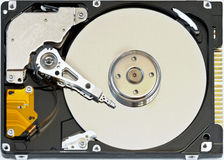 Hard disk. Cylinders of the hard disk, spindle, power heads, and rocker arm Stock Images