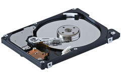 Hard disk. Cylinders of the hard disk, spindle, power heads, and rocker arm Royalty Free Stock Photography