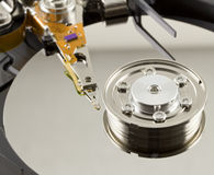 Hard disk from within. Close up Royalty Free Stock Photography