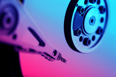 Hard disk. Detail with a blue light Stock Photos