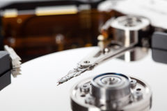 Hard Disk. Closeup of an open hard disk. Shallow depth of field royalty free stock photography