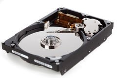 Hard Disk. Open hard disk isolated over a white background royalty free stock images