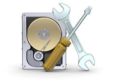 Hard Disk and Assistave Tool Royalty Free Stock Image