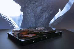 Hard disk on the background. Data collection, archiving of important data. Hard disk on the background. Data collection, archiving of important pc  data Royalty Free Stock Images