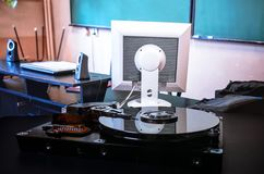 Hard disk on the background. Data collection, archiving of important data. Hard disk on the background. Data collection, archiving of important pc  data Stock Images