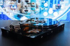 Hard disk on the background. Data collection, archiving of important data. Hard disk on the background. Data collection, archiving of important pc data royalty free stock photo