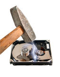 Hard disk break a hammer, on white background Royalty Free Stock Photography