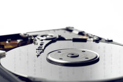 Hard Disk close up with binary numbers Royalty Free Stock Photos